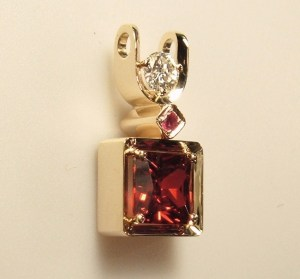 Ruby Garnet Diamond Pendant